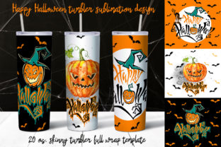 Happy Halloween Tumbler Sublimation Graphic Print Templates By grigaola