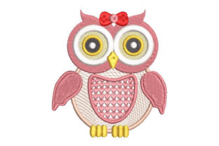 Pink Owl Birds Embroidery Design By Embroiderypacks
