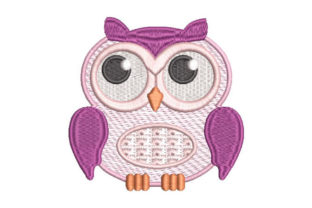 Purple Owl Birds Embroidery Design By Embroiderypacks