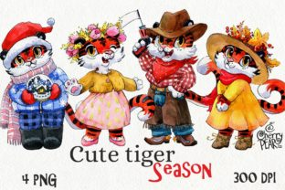 Print on Demand: Season Cute Tiger Clipart, Watercolor Graphic Illustrations By CherrypearStudio