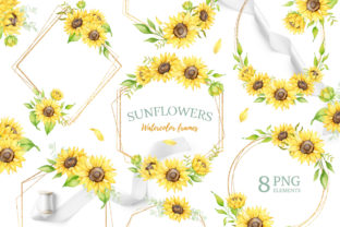 Sunflower Watercolor Geometric Frames Graphic Illustrations By SipkaDesigns