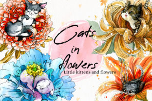 Print on Demand: Cats in Flowers, Flowers and Kittens PNG Graphic Illustrations By CherrypearStudio