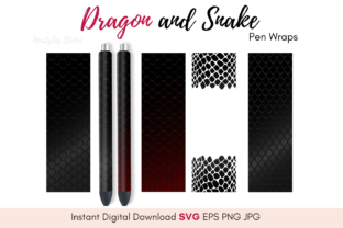 Dragon and Snake Scales Pen Wrap Graphic Illustrations By Miistylez Studio