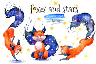 Print on Demand: Galaxy Celestial Fox with Star, PNG Graphic Illustrations By CherrypearStudio