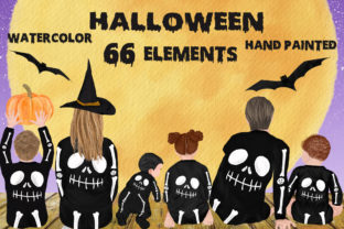 Print on Demand: Halloween Family Clipart Bones Costumes Graphic Illustrations By LeCoqDesign