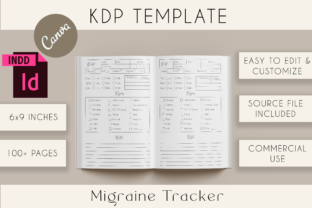 Print on Demand: Migraine Tracker Canva + InDesign Templa Graphic KDP Interiors By Lemon Downloads