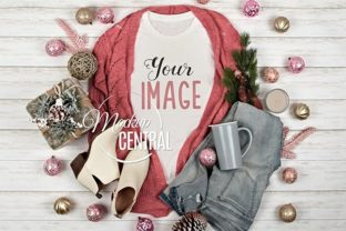 Pink Christmas Shirt Mock Up Top View Graphic Product Mockups By Mockup Central