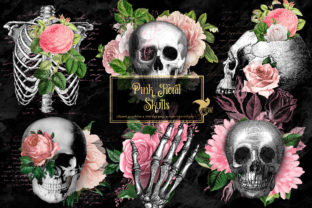 Print on Demand: Pink Floral Skulls Clipart Graphic Illustrations By Digital Curio