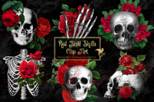 Print on Demand: Red Floral Skulls Clipart Graphic Illustrations By Digital Curio