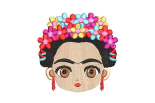 Woman's Face with Flowers Beauty Embroidery Design By Embroiderypacks