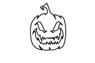 Outline of Evil Pumpkin Halloween Craft Cut File By Creative Fabrica Crafts