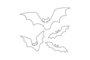 Outline of Evil Bats Halloween Craft Cut File By Creative Fabrica Crafts