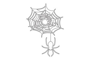 Outline of Spider Hanging from a Web Halloween Craft Cut File By Creative Fabrica Crafts