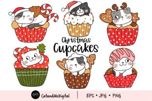 Christmas Cupcake Clipart Graphic Illustrations By CatAndMe