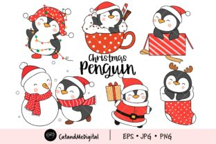 Christmas Penguin Clipart Graphic Illustrations By CatAndMe