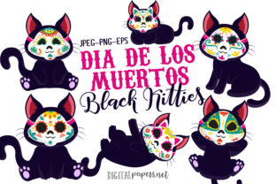 Print on Demand: Day of the Dead Black Kitties Graphic Illustrations By DigitalPapers 1