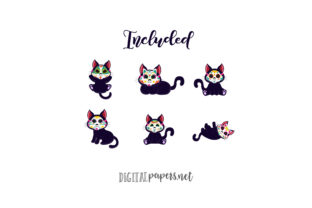 Print on Demand: Day of the Dead Black Kitties Graphic Illustrations By DigitalPapers 2