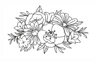 Flowers Outline Flowers Embroidery Design By LizaEmbroidery