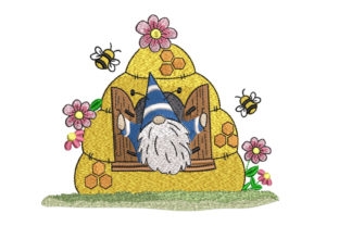 Gnome and Bee Hive Nursery Embroidery Design By Canada Crafts Studio
