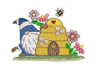 Gnome and Bee Hive Fairy Tales Embroidery Design By Canada Crafts Studio
