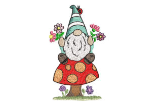 Gnome on Mushroom Babies & Kids Embroidery Design By Canada Crafts Studio