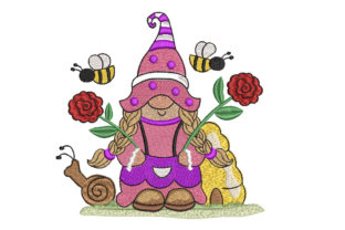 Gnome with Roses Fairy Tales Embroidery Design By Canada Crafts Studio