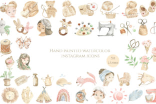Print on Demand: Hand Painted Watercolor Icons Graphic Icons By laffresco04