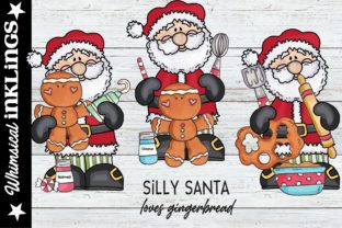 Silly Santa Loves Gingerbread Graphic Illustrations By Whimsical Inklings