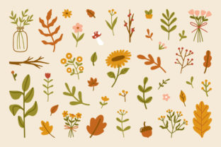 Print on Demand: Autumn Leaves Flowers Elements Abstract Graphic Illustrations By Musbila