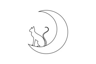 Outline of Halloween Cat Sitting on the Moon Halloween Craft Cut File By Creative Fabrica Crafts