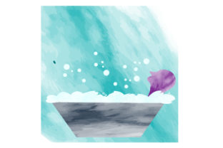 Man in Bubble Bath Watercolor Home Craft Cut File By Creative Fabrica Crafts