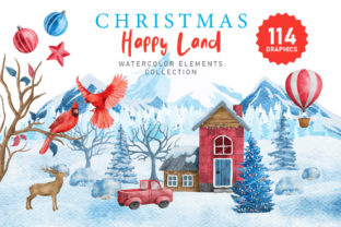 Print on Demand: Christmas Happy Land Watercolor Elements Graphic Illustrations By nesdigiart 1