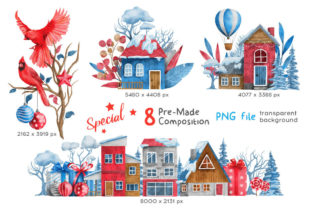 Print on Demand: Christmas Happy Land Watercolor Elements Graphic Illustrations By nesdigiart 11