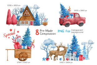 Print on Demand: Christmas Happy Land Watercolor Elements Graphic Illustrations By nesdigiart 12