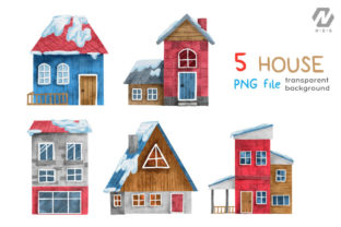 Print on Demand: Christmas Happy Land Watercolor Elements Graphic Illustrations By nesdigiart 2