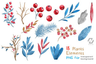 Print on Demand: Christmas Happy Land Watercolor Elements Graphic Illustrations By nesdigiart 6