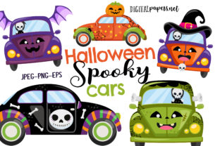 Print on Demand: Halloween Spooky Cars Graphic Illustrations By DigitalPapers