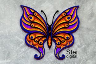 3d Layered Butterfly SVG, DXF Cut Files. Graphic 3D SVG By SteiDigital