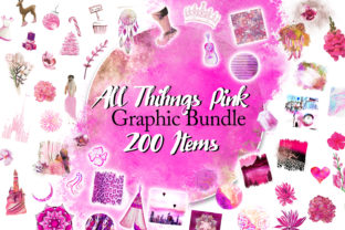Print on Demand: All Things Pink Graphic Bundle Graphic Illustrations By Digital Doodlers 1