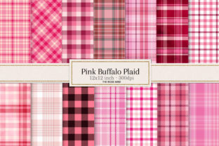 Print on Demand: Buffalo Plaid Pink Digital Paper Graphic Textures By The Rose Mind