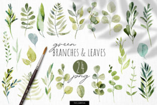 Print on Demand: Watercolor Greenery Clipart Graphic Illustrations By HappyWatercolorShop