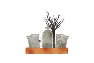Watercolor Spooky Cemetery Halloween Craft Cut File By Creative Fabrica Crafts