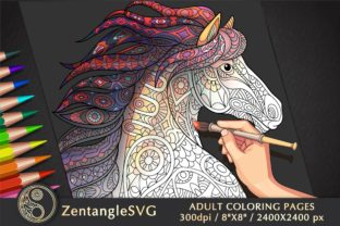Horse Coloring Page for Adults Graphic Coloring Pages & Books Adults By ZentangleSVG