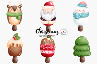 Print on Demand: Watercolor Christmas Ice Cream Clipart Graphic Illustrations By Chonnieartwork