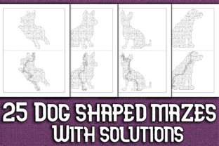 Print on Demand: 25 Dog Shaped Mazes with Solutions Graphic KDP Interiors By Mary's Designs