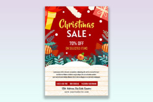 Print on Demand: Christmas Sale Flyer  Design Graphic Websites By themesfusion
