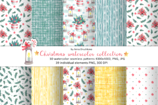 Print on Demand: Christmas Watercolor Pattern Collection Graphic Patterns By ann-watercolor