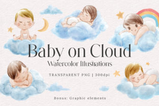 Print on Demand: Cute Baby on Cloud Watercolor Set Graphic Illustrations By jellafornie