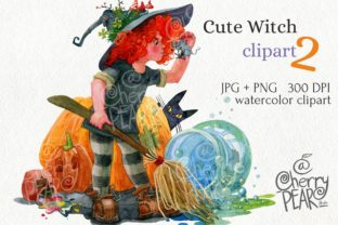 Print on Demand: Cute Witch with Broom Sublimation Clipat Graphic Illustrations By CherrypearStudio 1