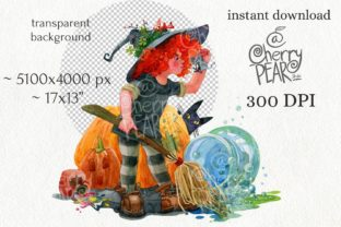 Print on Demand: Cute Witch with Broom Sublimation Clipat Graphic Illustrations By CherrypearStudio 2